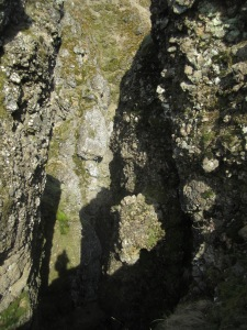 Narrow cleft. Note my shadow