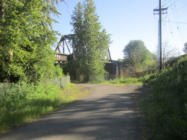 The Portland Road approach.  The path soon crosses beneath the tracks.