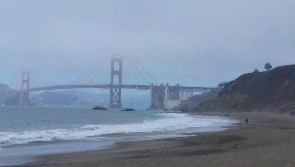 Golden Gate from Baker Beach.  Far side has a touch of sun.