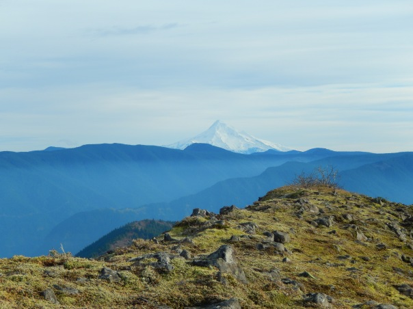 The rocky ridge on top--and Mount Hood to the south