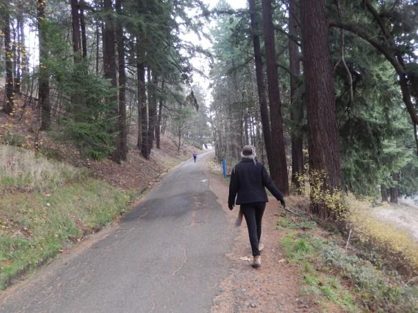 Turning the corner, headed uphill