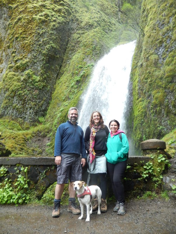 Posing with Wahkeena Falls as backdrop