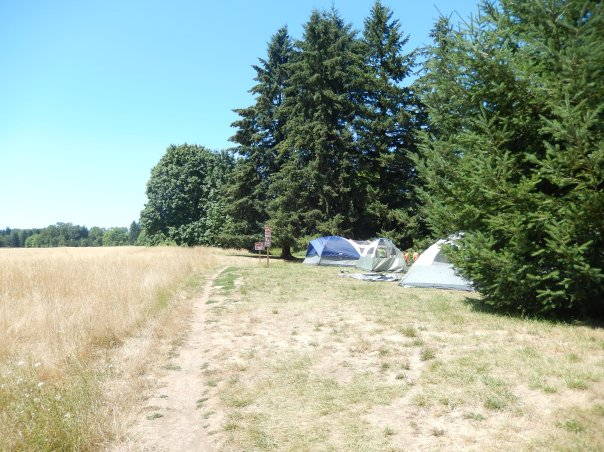 Campers near the trail