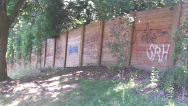 I found irony in the extensive graffiti on a fence separating the Arboretum and an upscale neighborhood