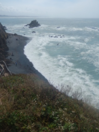 Looking down at Cobble Beach