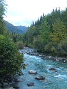 Pretty river on the far side of the pass